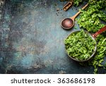 fresh kale in cooking pot with... | Shutterstock . vector #363686198