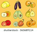 set of fruits and vegetables... | Shutterstock .eps vector #363689114