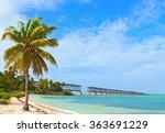 Bahia Honda state park, landmark Flagler bridge on a beautiful summer day, Florida Keys beautiful tropical nature