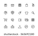 outline shopping icons | Shutterstock .eps vector #363692180