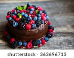 chocolate cake with berries on... | Shutterstock . vector #363696713
