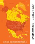north america map high detailed ... | Shutterstock .eps vector #363697130