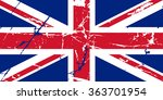 damaged flag of great britain | Shutterstock .eps vector #363701954
