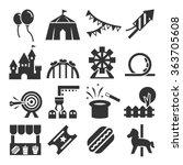amusement park icon set | Shutterstock .eps vector #363705608