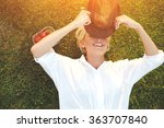 cheerful young woman closes own ... | Shutterstock . vector #363707840