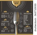 restaurant menu design.... | Shutterstock .eps vector #363710030