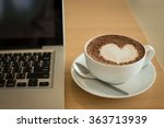 a cup of coffee in a white cup... | Shutterstock . vector #363713939