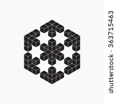 optical illusion  cube ... | Shutterstock .eps vector #363715463