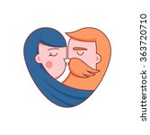 kissing couple flat... | Shutterstock .eps vector #363720710
