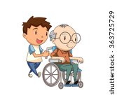 child caring old man  vector... | Shutterstock .eps vector #363725729