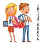 boys and girls stand back to... | Shutterstock .eps vector #363727898