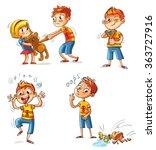 bad behavior. the boy wants to... | Shutterstock .eps vector #363727916