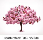 Spring Pink Tree  Vector Icon