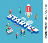 startup flat 3d isometric style ... | Shutterstock .eps vector #363729740