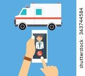 call ambulance car via mobile... | Shutterstock .eps vector #363744584