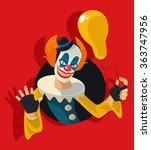 Scary Clown. Vector Flat...