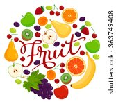 various vector fruit with... | Shutterstock .eps vector #363749408