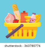 shopping basket with foods.... | Shutterstock .eps vector #363780776
