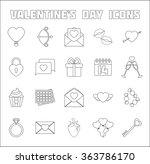 romantic icons set. valentine's ... | Shutterstock .eps vector #363786170