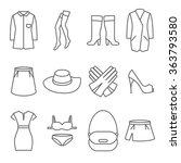 Stock vector female clothes line icons set fashion clothing collection dress shoe skirt vector illustration 363793580