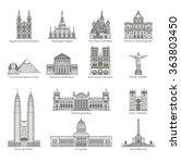 World Landmark Icon Set   Eps1...