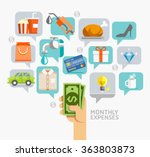 monthly expenses conceptual... | Shutterstock .eps vector #363803873