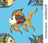 seamless zentangle fish...   Shutterstock . vector #363806240