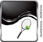 tennis racket on black wave... | Shutterstock .eps vector #36381016