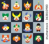Clown Face Set. Character Cry...