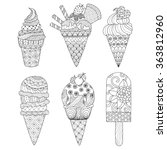 zentangle ice cream set for... | Shutterstock .eps vector #363812960
