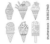 zentangle ice cream set for... | Shutterstock .eps vector #363812960