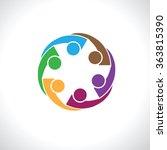 six people icon. people friends ... | Shutterstock .eps vector #363815390