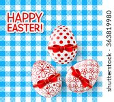easter eggs on the tablecloth | Shutterstock .eps vector #363819980