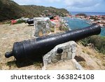 Small photo of Old cannon on top of Gustavia Harbor, St. Barths, French West indies