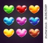 cartoon glossy hearts set ...