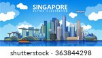 Singapore City Skyline. Vector...