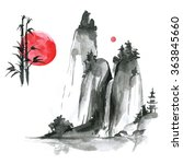 hand drawn ink sumi e elements  ...   Shutterstock . vector #363845660