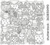 pattern for coloring book. owls.... | Shutterstock .eps vector #363850490