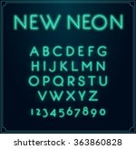 neon font type alphabet.... | Shutterstock .eps vector #363860828