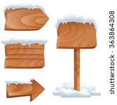 Wooden Signs In Snow Vector Se...