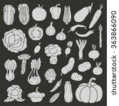 icons of vegetables on black... | Shutterstock .eps vector #363866090