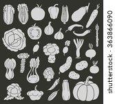 icons of vegetables on black... | Shutterstock .eps vector #363866090