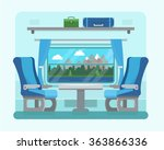 passenger train inside. seat in ... | Shutterstock .eps vector #363866336