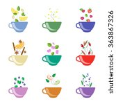 tea with berries and flowers ... | Shutterstock .eps vector #363867326