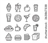 fast junk food icons set of... | Shutterstock .eps vector #363867338