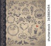 floral compositions vintage set.... | Shutterstock .eps vector #363883454
