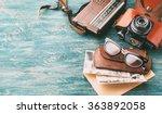 old retro glasses  radio and... | Shutterstock . vector #363892058