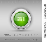 chrome glossy button with green ... | Shutterstock .eps vector #363902768