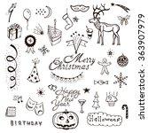vector holidays doodle set.... | Shutterstock .eps vector #363907979