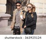 fashionable young woman and man ... | Shutterstock . vector #363925124